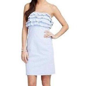 Vineyard Vines Blue Seersucker Strapless Dress 0